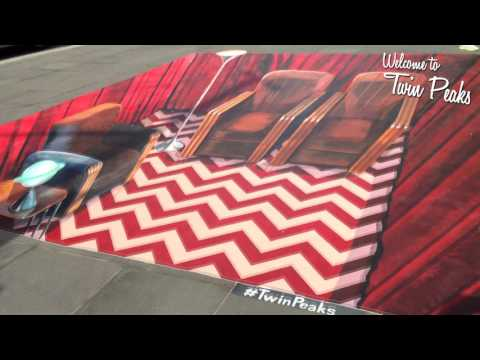 The Red Room (Twin Peaks) as a 3D anamorphic painting on the streets of Brooklyn, NY