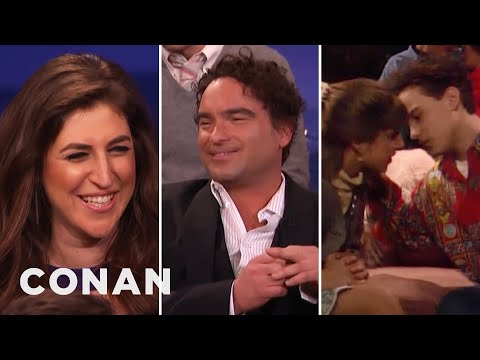 Mayim Bialik & Johnny Galecki Remember Their Teenage Kiss | CONAN on TBS