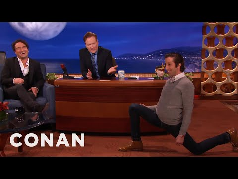Simon Helberg's Sensual Warm-Up Lunges | CONAN on TBS