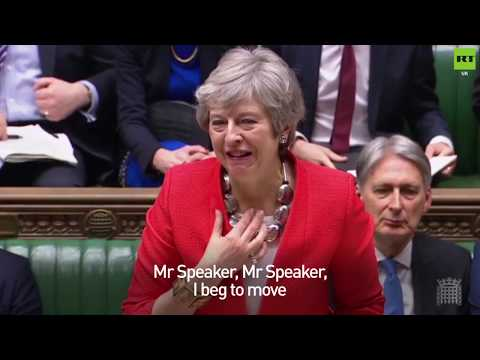 Theresa May cracks a joke about her VERY croaky voice