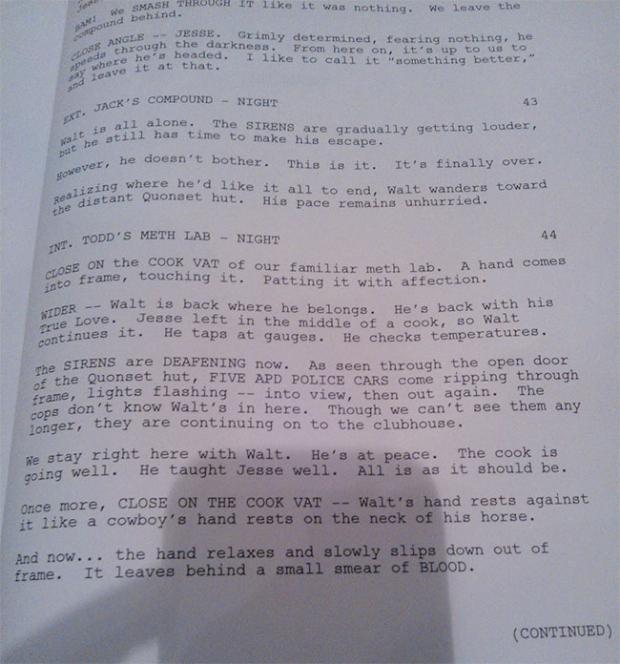 Die letzten Drehbuchseiten von Breaking Bad