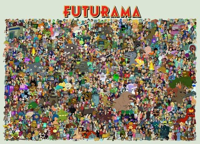alle figuren aus futurama auf einem bild seriesly awesome