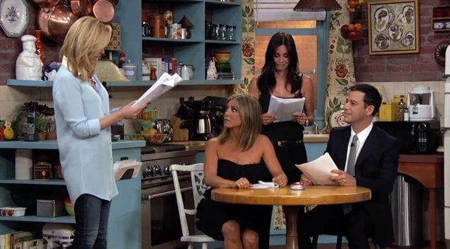 "Jennifer Aniston, Courteney Cox, Lisa Kudrow und Jimmy Kimmel in ""Friends"""