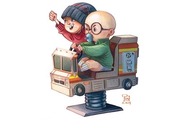 Serienfiguren auf Kinderfahrautomaten
