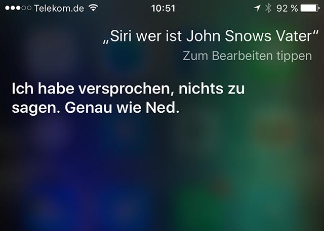 Siri kennt Jon Snows Eltern