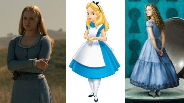 Dolores in Westworld (l.), Alice im Disney- (m.) und im Burton-Wunderland (r.)