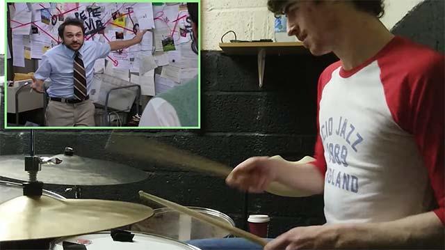 Dialog aus 'It's Always Sunny In Philadelphia' mit dem Schlagzeug begleitet