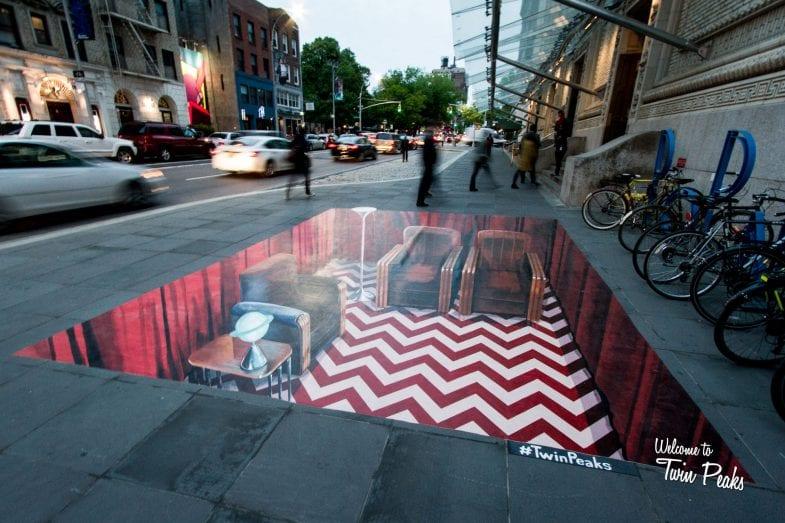 Twin Peaks: Red Room als 3D Street Art
