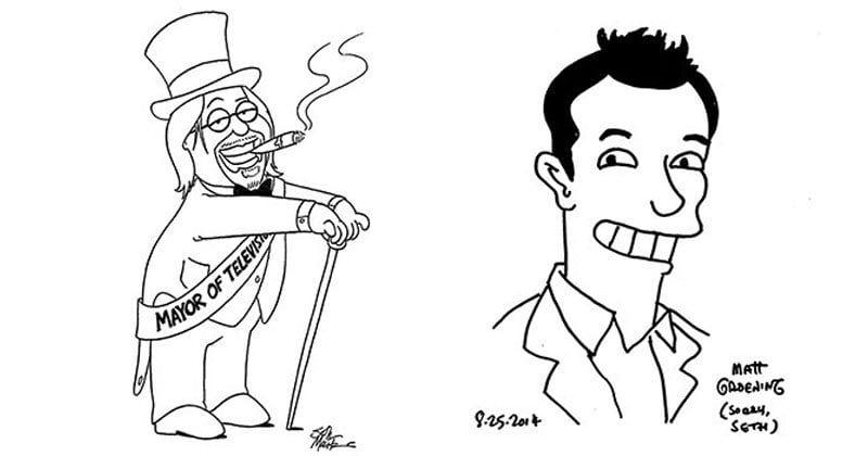matt-groening-and-seth-mcfarlane-draw-portraits-of-each-other Matt Groening und Seth McFarlane zeichnen sich gegenseitig