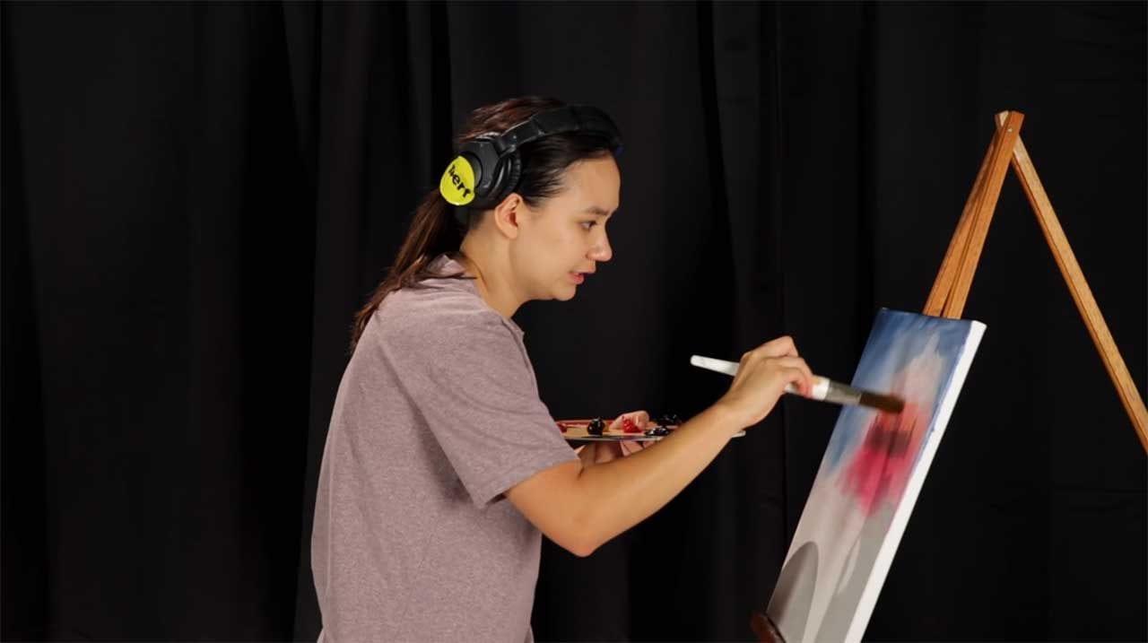 Anfänger versuchen, wie Bob Ross zu malen
