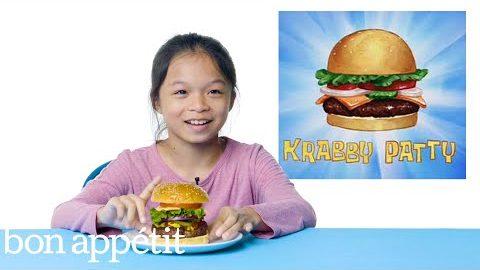 Kinder probieren und bewerten Essen aus Cartoonserien