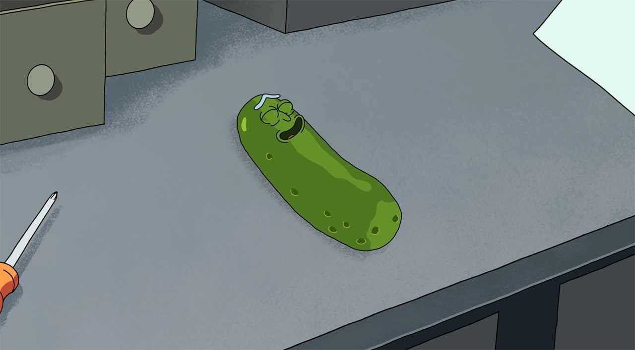 Justin Roilands Lachflash bei der Pickle Rick-Synchonisierung