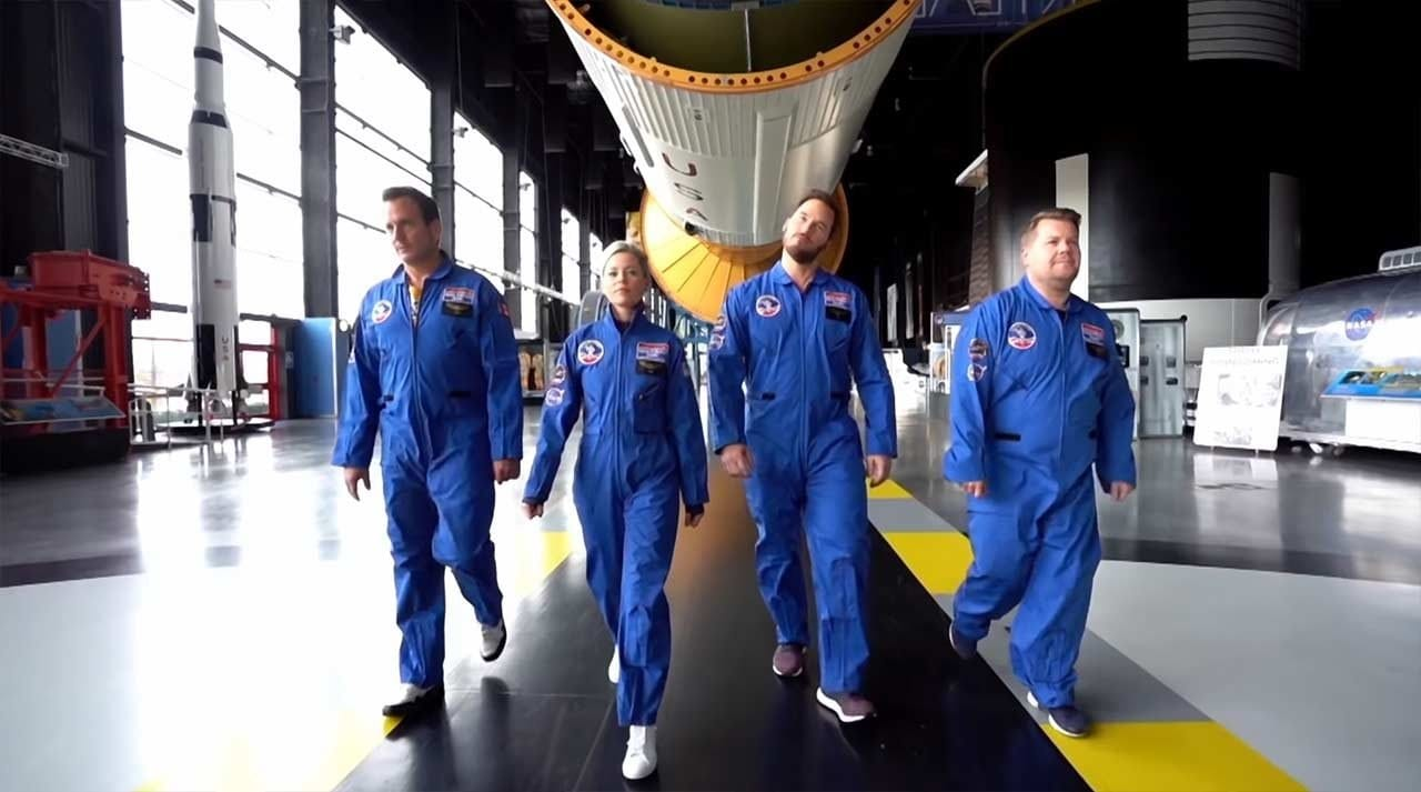 Will Arnett, Chris Pratt, Elizabeth Banks und James Corden im Astronauten-Training
