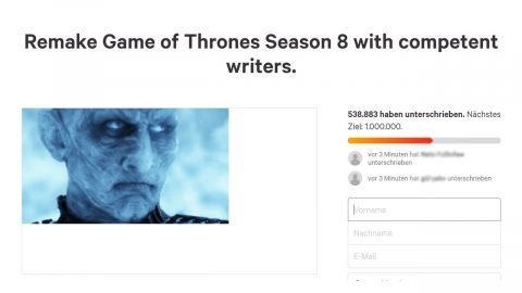 Mehr als 500.000 Fans fordern Remake von Game of Thrones' Staffel 8 in Online-Petition