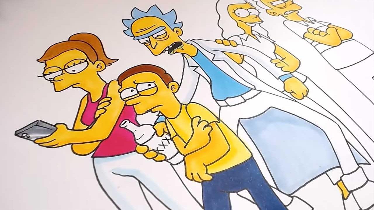 """""""Rick and Morty"""" und """"The Simpsons"""" im jeweils anderen Stil gezeichnet"""