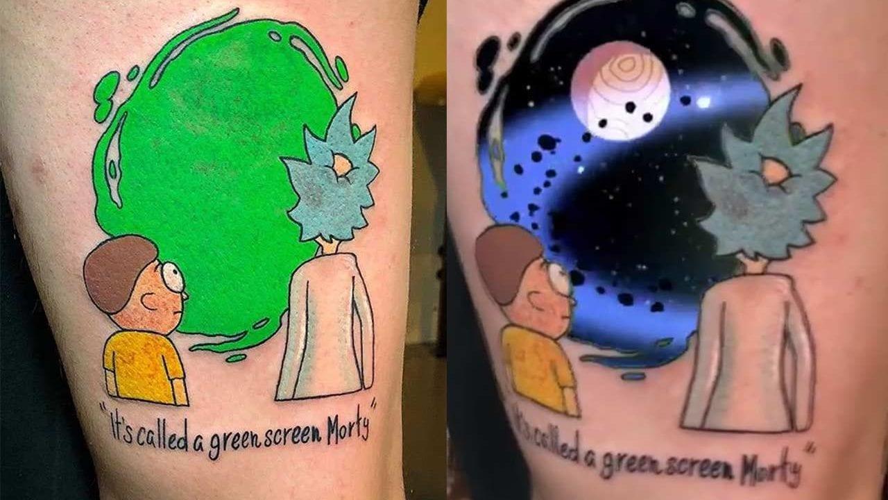 """Rick and Morty""-Tattoo mit Green Screen-Portal"