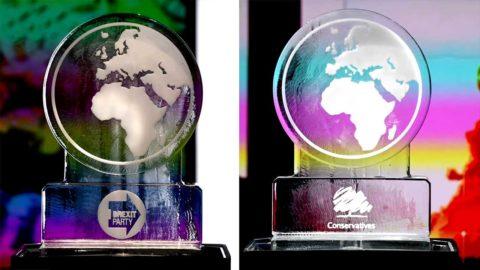 TV-Sender zeigt schmelzenden Eis-Globus anstelle Boris Johnson, der Klima-Debatte fernblieb