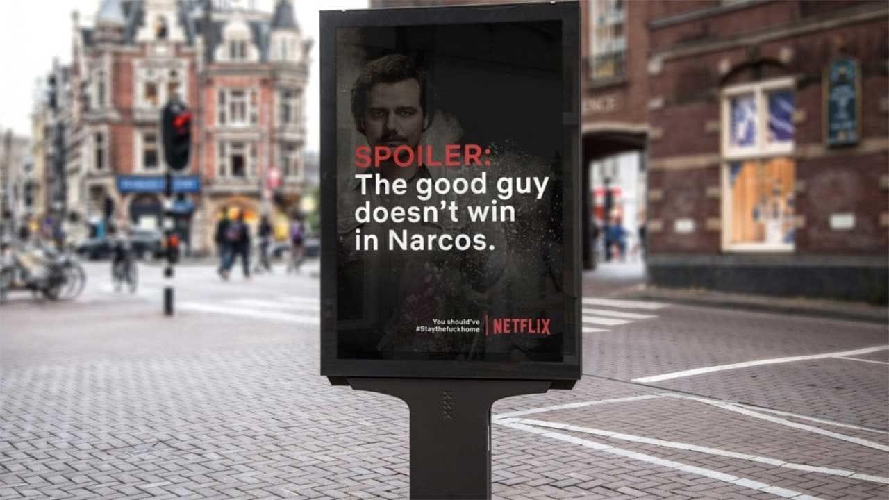 Netflix-Spoiler-Plakate sollen Leute zum Daheimbleiben animieren