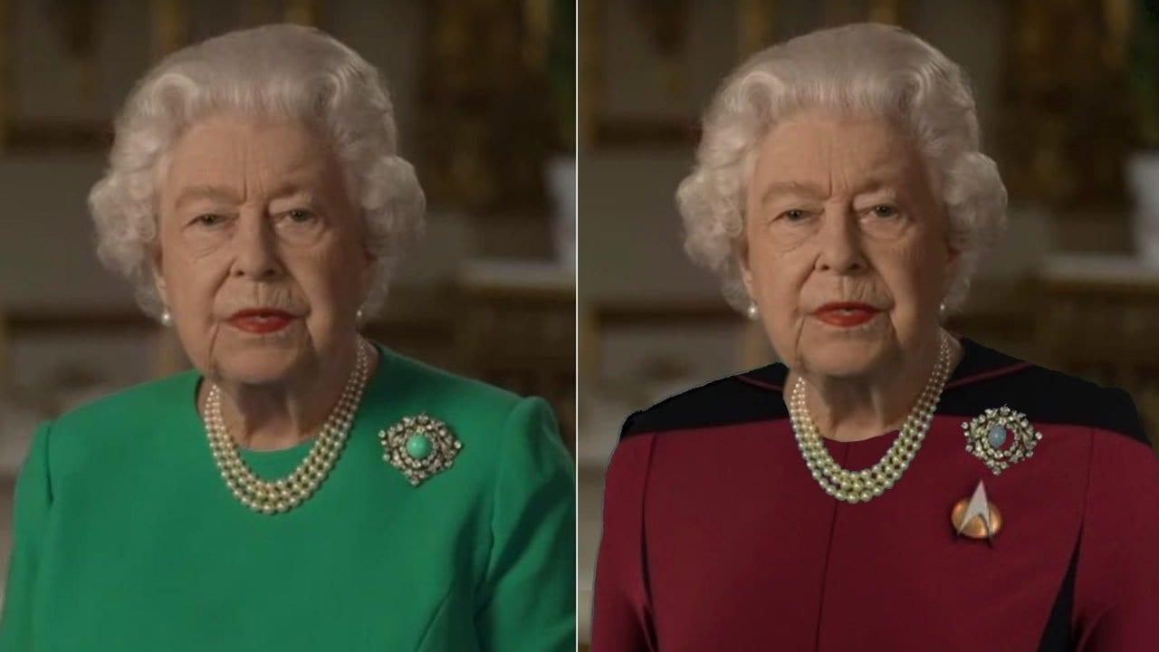 Witzige Bildbearbeitungen zur Ansprache der Queen