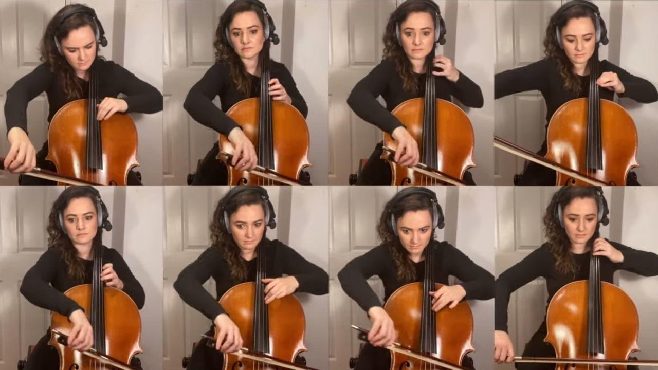 Cellistin spielt diverse Serienintros nach