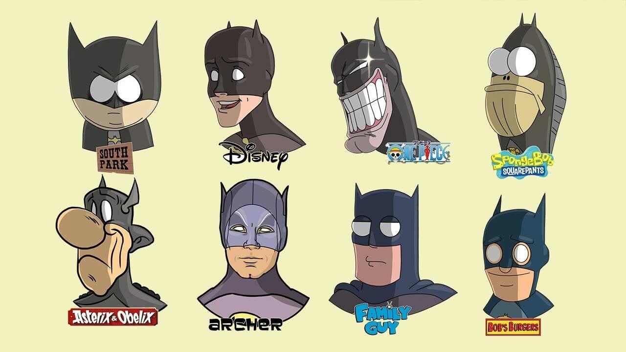 Popkulturfiguren in unterschiedlichen Cartoon-Stilen gezeichnet