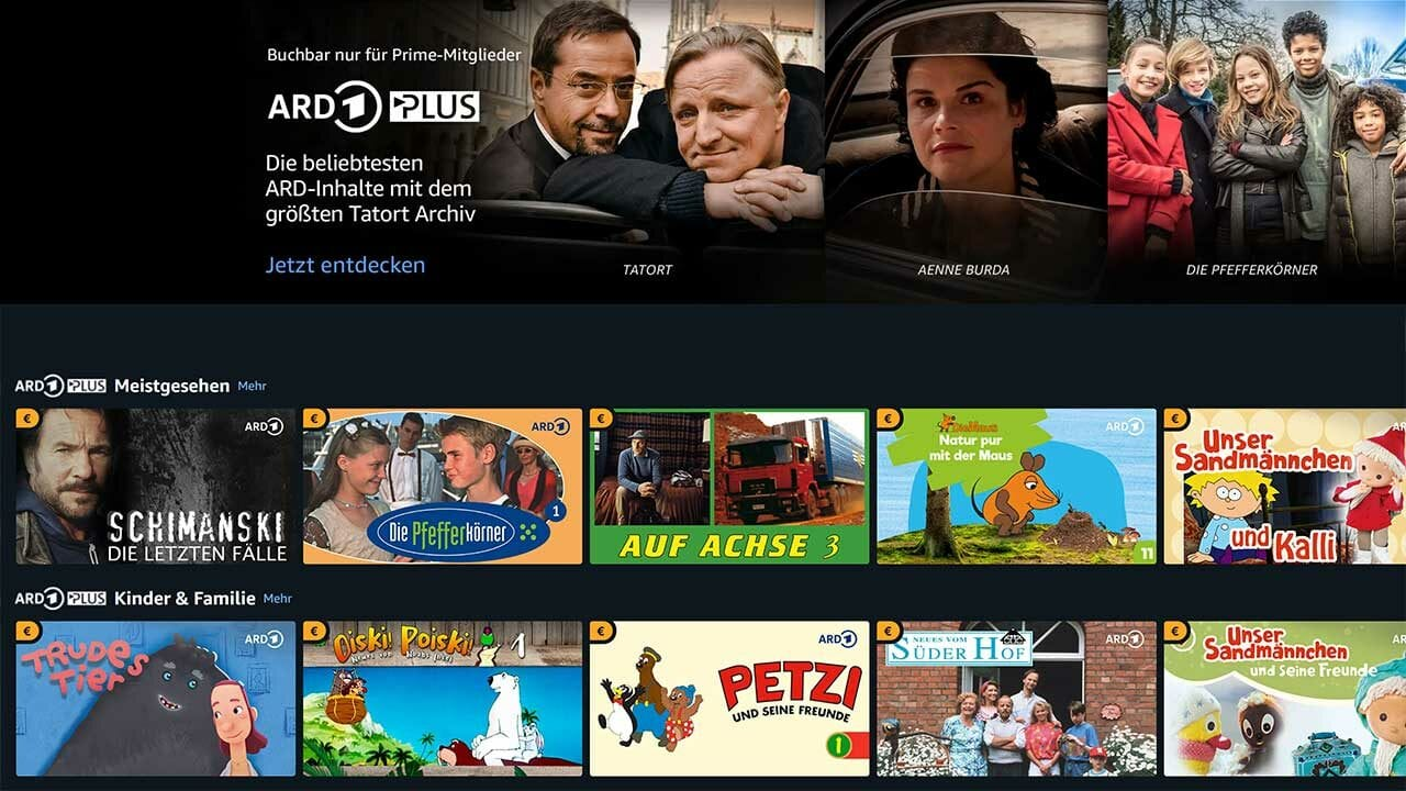 ARD Plus ab heute über Amazon Prime Video Channels buchbar