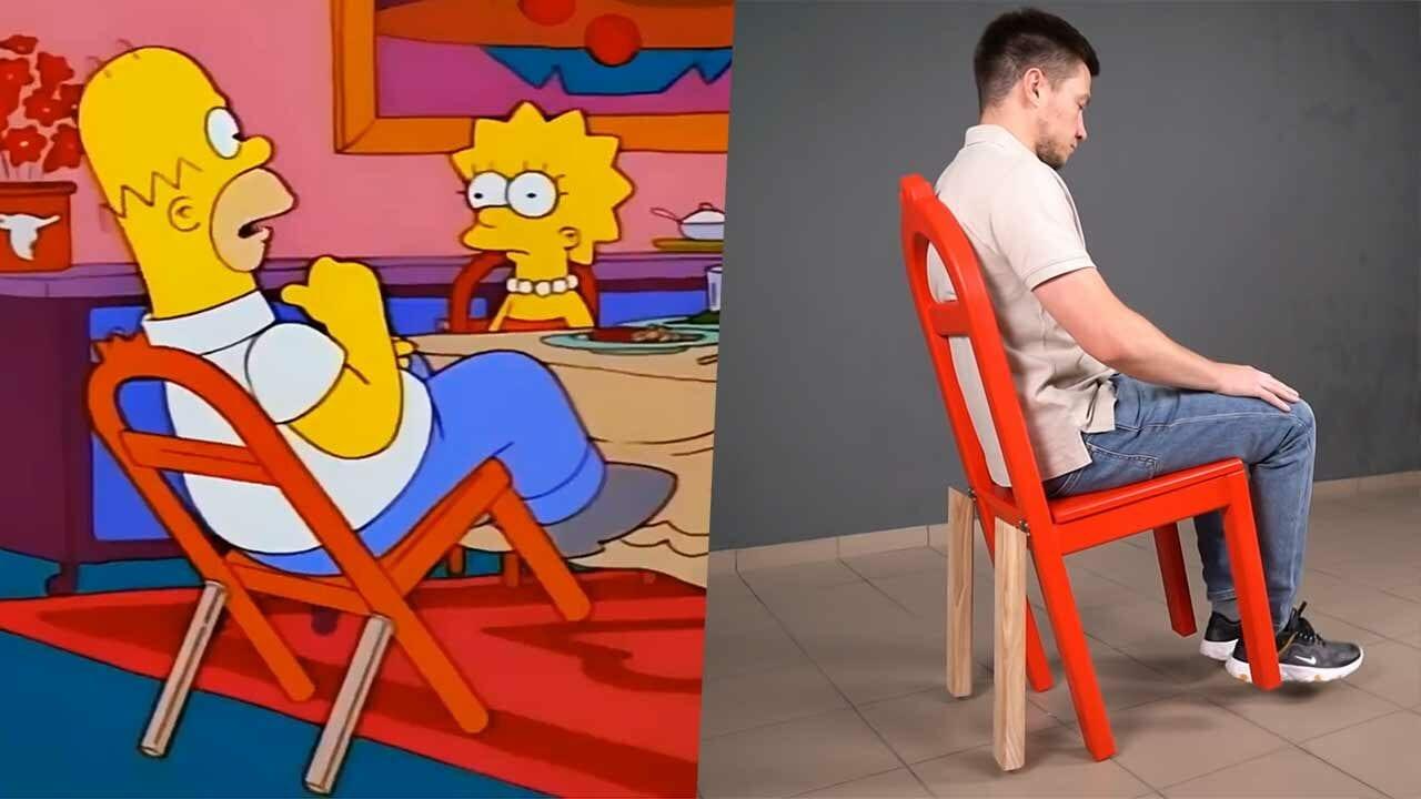 Realer Nachbau von Homer Simpsons Kippelstuhl-Erfindung