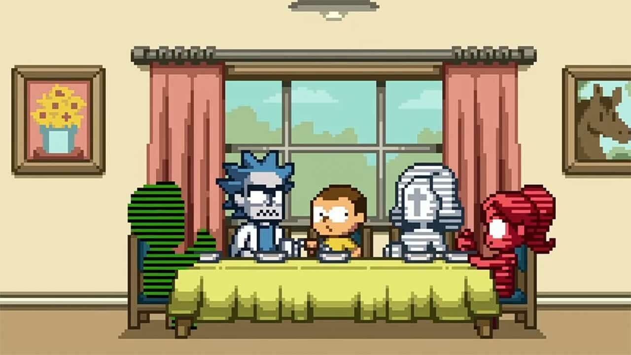 """Rick and Morty: Pixel-Special """"Rick + Morty in the Eternal Nightmare Machine"""" von Paul Robertson"""